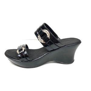 Montego Bay Club Black Wedge Slip On Sandals 7